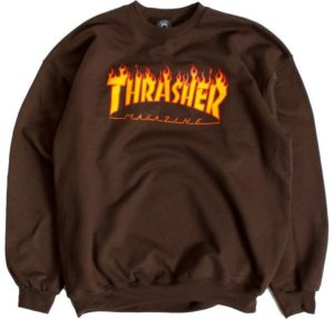 bluza Thrasher Flame Crew Brown XL